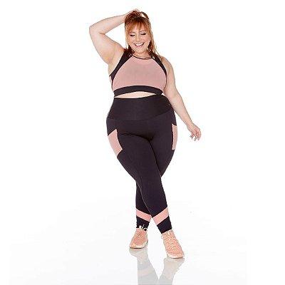 Legging Plus Size Joana Dark - Emana Plus Preto Tule - Ju Romano