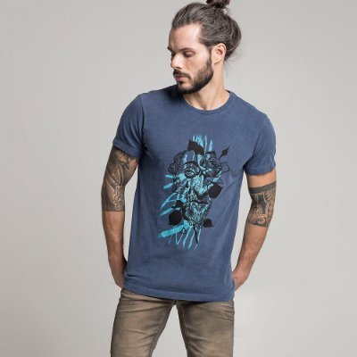 CAMISETA STONE KING AND FLOWERS MARINHO