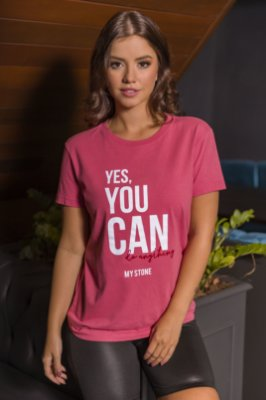T-SHIRT YES YOU CAN - ROSA VELHO