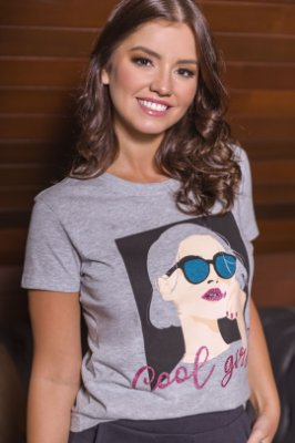 T-SHIRT COOL GIRL - MESCLA