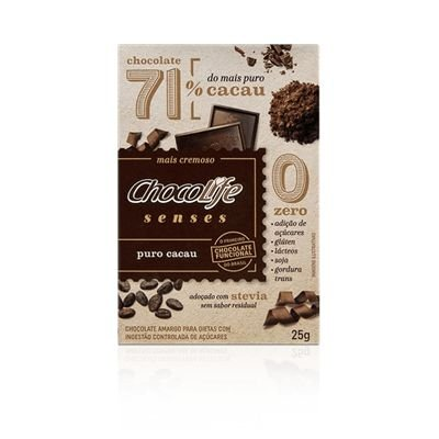 Chocolate Senses 71% Puro Cacau  unidade de 25g - Chocolife