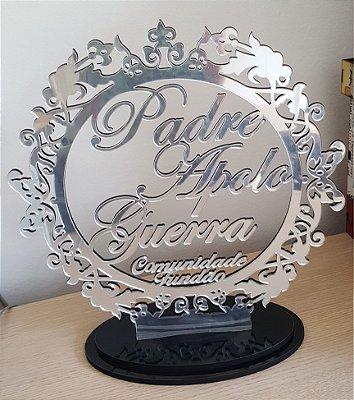 Brasão de Homenagem em Acrílico Espelhado 30x30cm