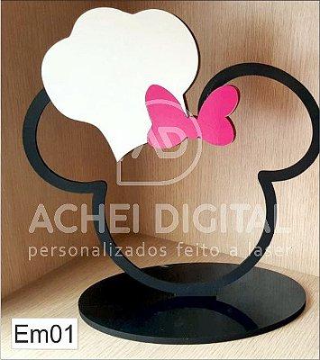 Enfeite Minnie em MDF - 19X22cm