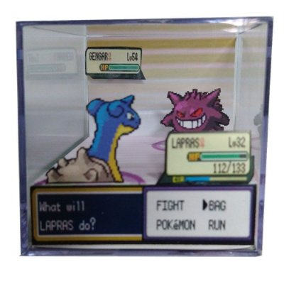 Diorama Cubo Pokemon (Fight) Lapras x Gengar
