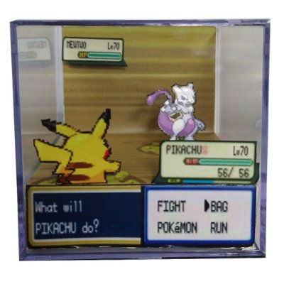 Diorama Cubo Pokemon (Fight) Pikachu x Mewtwo