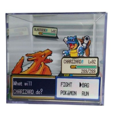 Diorama Cubo Pokemon (Fight) Charizard x Blastoise