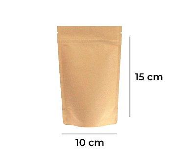 Saco Stand up Pouch Kraft com Zip  – 10 x 15 x 3