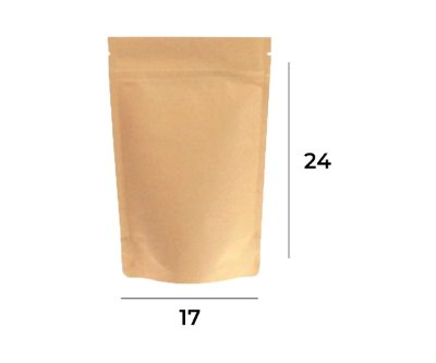 Saco Stand up Pouch Kraft com Zip  – 17 x 24 x 3