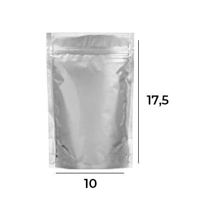 Stand up Pouch Metalizado com Zip – 10 x 17,5 x 3