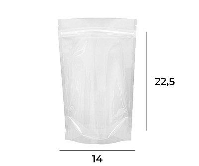 Stand up Pouch Transparente com Zip – 14 x 22,5 x 3,5