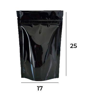 SACO STAND UP POUCH PRETO COM ZIP – 17 X 25 X 4