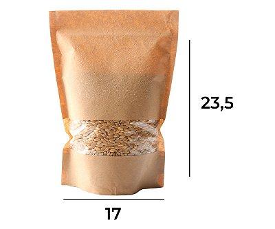 Saco Stand up Pouch Kraft com Visor Zip 17 x 23,5 x 3