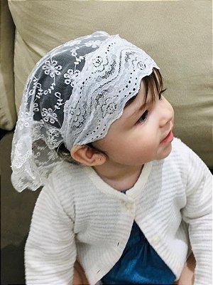 Véu de Bebê de Tule Bordado