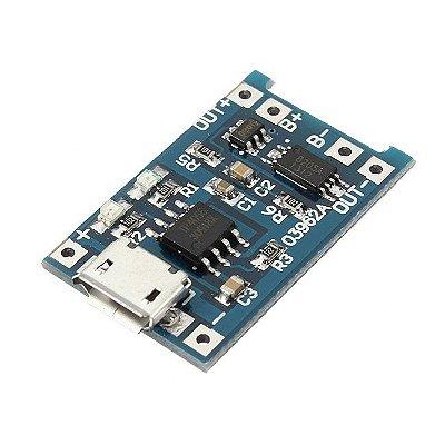 Módulo Carregador de Bateria de Lítio TP4056 - Micro USB