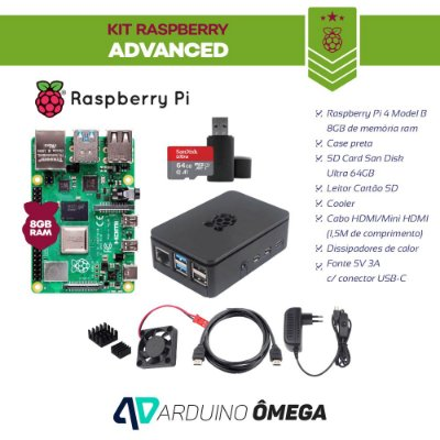 Kit Raspberry PI 4 Advanced - 8GB RAM Model B SD Card 64GB Case HDMI Fonte