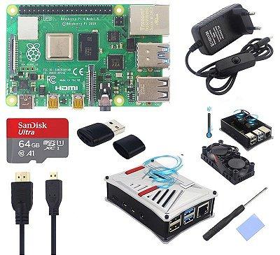 Kit Raspberry PI 4 Model B  Double Cooler Silver Case - 8GB Ram SD Card 64GB