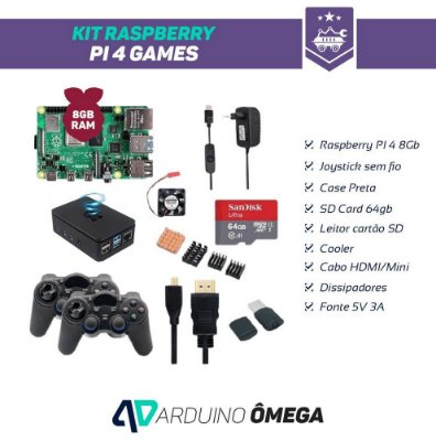 Kit Raspberry PI 4 Games - 8GB RAM 2 Joystick Wireless SD Card 64GB
