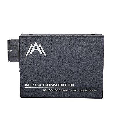 Conversor de Mídia GIGA até 20KM - Para uso com 2 fibras ópticas