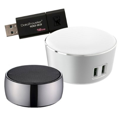Combo Home Office 1 - Abajur com USB duplo + caixa de som bluetooth + pendrive 16gb
