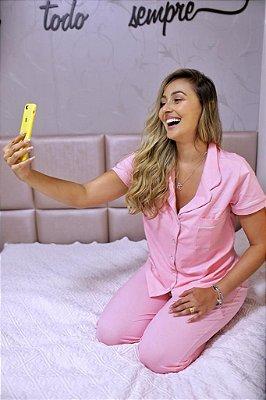 Pijama Rosa de Calça 100% Algodão