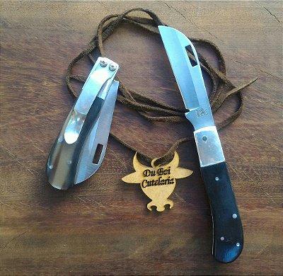 Canivete Sinuoso Cabo de Chifre Sem Ponta