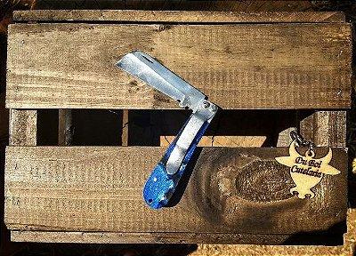 Canivete Com Cabo de Acrílico Azul