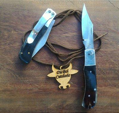 Canivete Sinuoso Cabo de Chifre Com Ponta