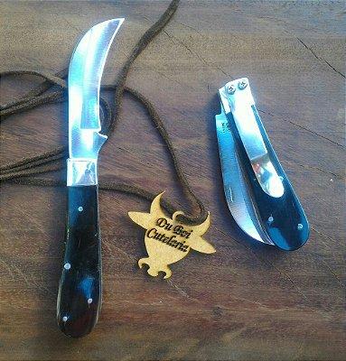 Canivete Tipo Foice - Cabo de Chifre e Presilha