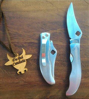 Canivete 100% Inox Com Trava e Presilha
