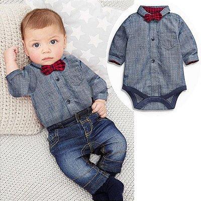 Conjunto bebê Jeans 3 peças 3412be8b69b