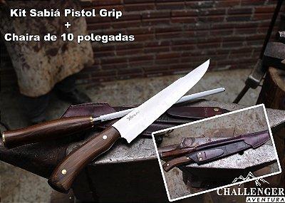 Kit Faca e Chaira Minuano Sabiá Pistol Grip
