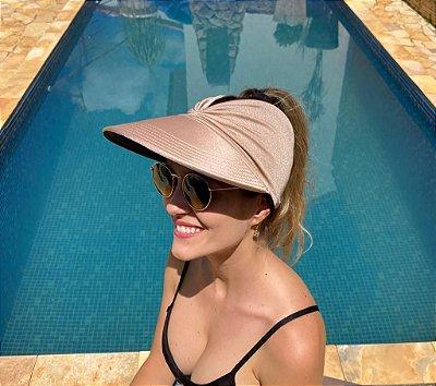 Viseira Turbante UV50+ DUPLA-FACE - Premium cor Preta e Nude