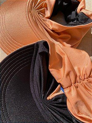 Viseira Turbante UV50+ DUPLA-FACE Preta e Papaya