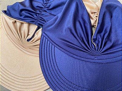 Viseira Turbante UV50+ DUPLA-FACE - Premium cor Azul Marinho e Nude