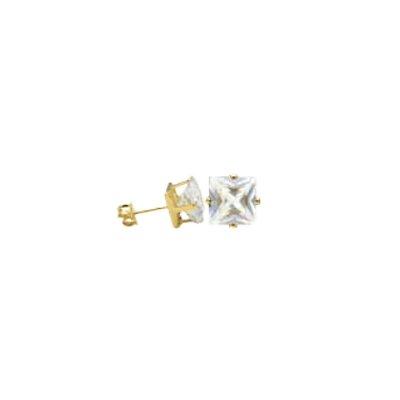 Brinco Quadrado com Zircônia Cristal Folheado a Ouro 18K