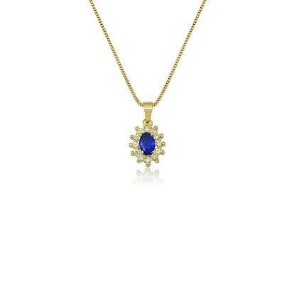 Colar Oval com Zircônias nas cores Azul e Cristal