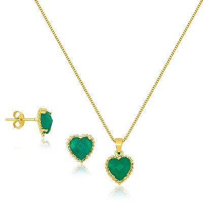 Conjunto de Coração Verde Esmeralda Folheado