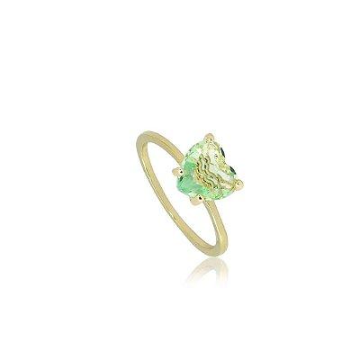 Anel Solitário com pedra de Zircônia Verde em Formato de Coração Folheado a Ouro 18K