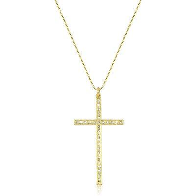 Colar Crucifixo Cravejado com Micro Zircônias Folheado