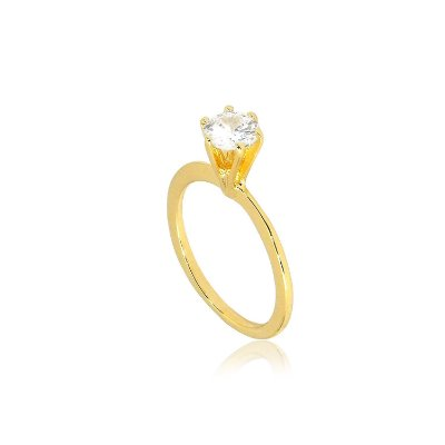 Anel Solitário Pedra de Zircônia Grande Folheado a Ouro 18K
