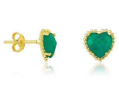 Brinco Coração com Pedra Verde Folheado a Ouro 18k