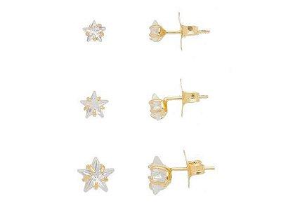 Trio de Brincos Estrelas de Zircônias Folheado Ouro 18K