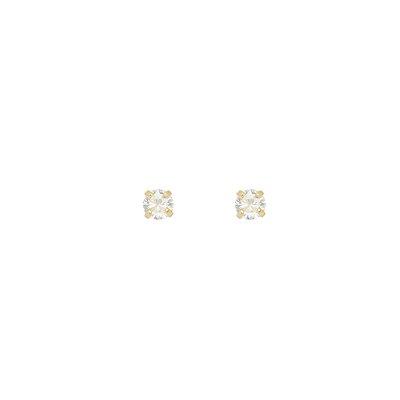 Brinco Ponto de Luz com Zircônia Redonda 2mm  Folheado a Ouro 18K