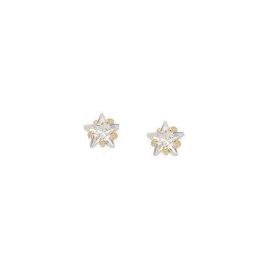 Brinco Estrela de Cristal Pequena Folheado a Ouro 18K