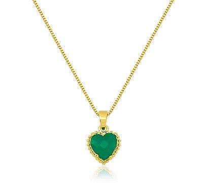 Colar Pedra de Coração Verde Folheado a Ouro 18k