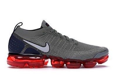 Tênis Nike Air Vapormax Flyknit 2 Cinza e Vermelho