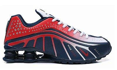 Tênis Nike Shox R4 Vermelho e Azul Escuro