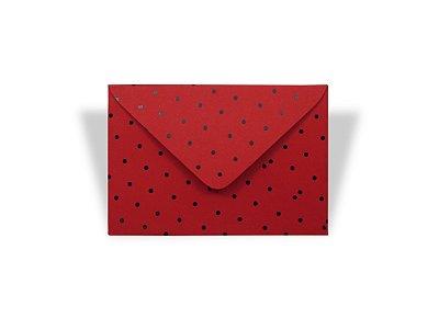 Envelopes 72 x 108 mm - Vermelho Decor Bolinhas Pretas - Lado Externo