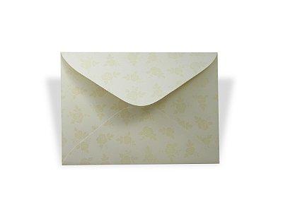 Envelopes 114 x 162 mm - Creme Decor Rosas Incolor - Lado Externo