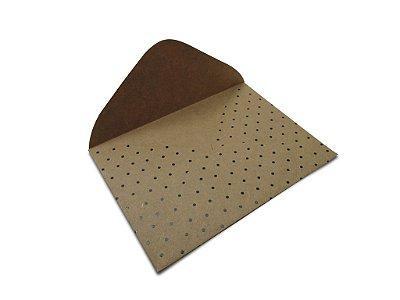 Envelopes 114 x 162 mm - Kraft Decor Bolinhas Preta - Lado Externo
